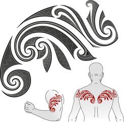 Maori tattoo pattern - Chameleon