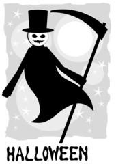 halloween background with cartoon grim reaper