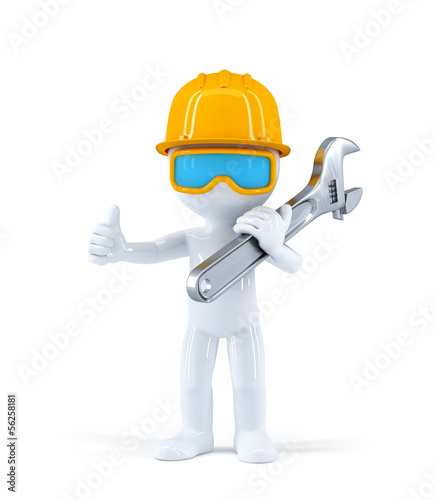 Worker with pipe wrench