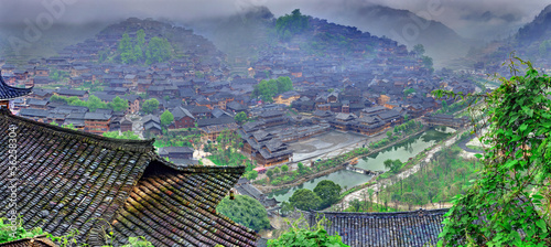 Fog and clouds in  big mountain village in southwest China.