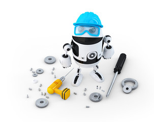 Robot construction worker with various tools. Technology concept