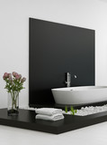 Modern black and white In-Floor Bathroom