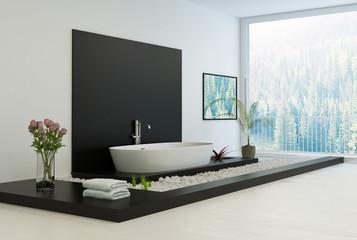 Modern black and white In-Floor Bathroom
