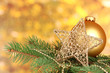 Christmas decoration on yellow background