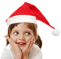 happy little girl with santa cap isolated