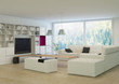 Modern living room with stylish white furniture