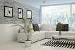 Modern living room interior with stone wall and artworks