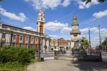 Budd Memorial and Lambeth Town Hall in Brixton.