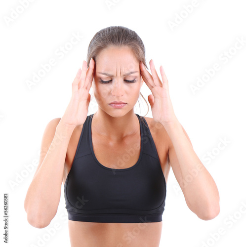 Headache of girl isolated on white