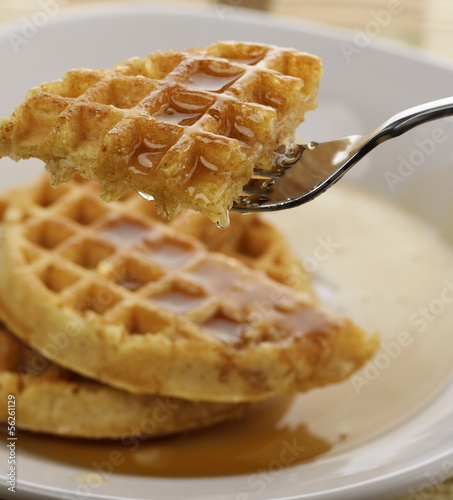 Waffles With Marple Syrup And Honey
