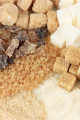 Different types of sugar close-up