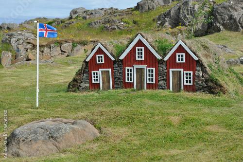 Leinwanddruck Bild Iceland - typical Fairy or Elf  little houses