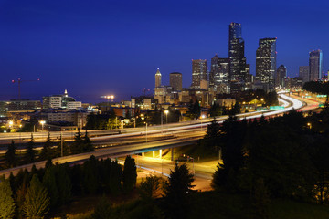 Seattle Freeways, Dawn Twilight, USA