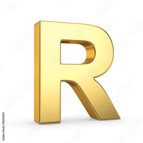3D golden letter isolated with clipping path on white