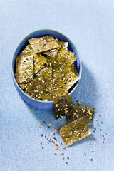 Nori chips with sea salt, sesame seeds and flax seeds