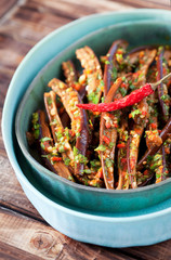 Marinated dried eggplant salad, selective focus