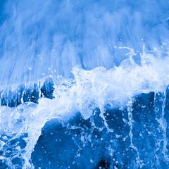 Closeup of blue sea waves