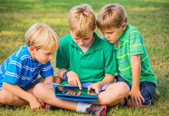 Kids using tablet computer