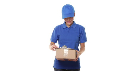 Delivery courier - woman giving package