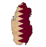Qatar map on Qatar flag drawing