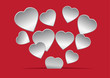 Paper hearts red background. Vector illustration