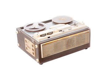 old portable reel to reel tube tape-recorder isolated on white