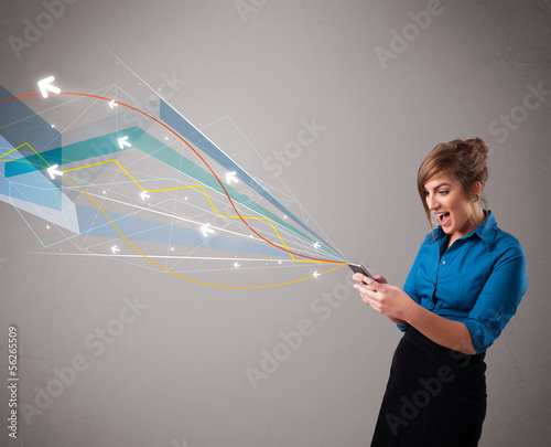 pretty young lady holding a phone with colorful abstract lines a