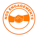 nos engagements sur bouton web rond orange