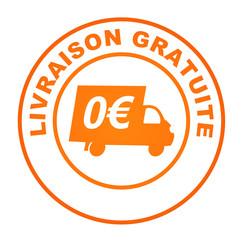 livraison gratuite sur bouton web rond orange