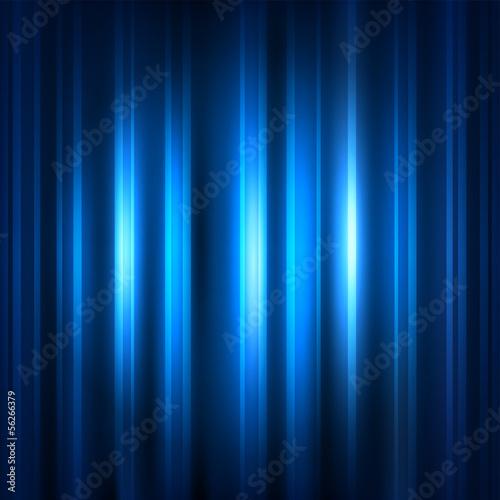 Fotobehang Licht, schaduw Blue curtain with spot light