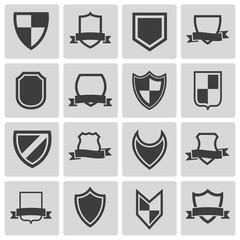 Vector black icon shield icons set