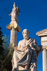 Neoclassical statue of ancient Greek philosopher Plato.