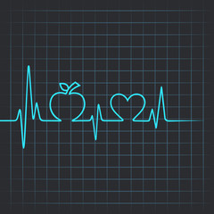 Heartbeat make apple and heart symbol vector illustration