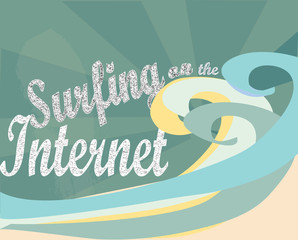 Surfing on the Internet. E- business concept