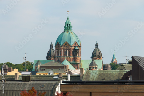 Saint Lukas Church and Munich Rooftops