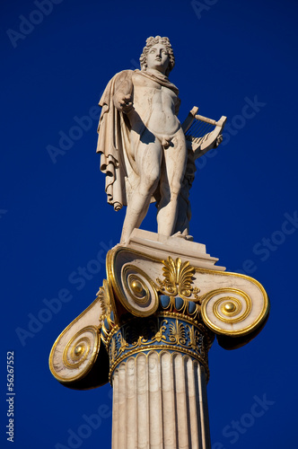 The statue of Apollo  next to the Academy of Athens, Greece.