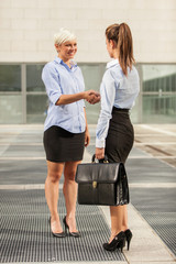 Two Businesswoman are meeting each other