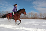 Young woman riding horseback in winter park