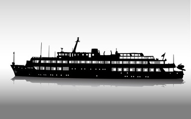 Vector silhouette of the passenger ship