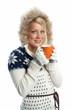 Blonde Frau mit Tasse