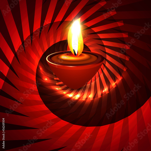 Artistic hindu diwali bright colorful festival swirl wave vector