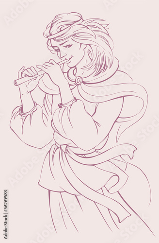 Vector illustration. Girl playing the flute