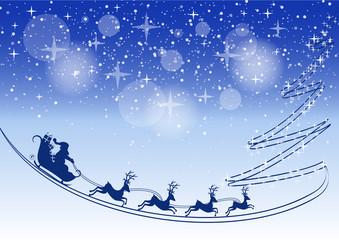 Noël - traineau et trace de sapin - fond bleuté