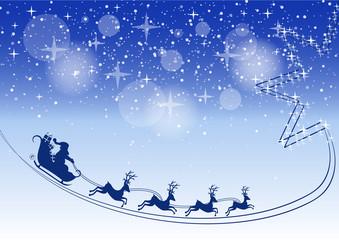 Noël - traineau et trace d'étoile - fond bleuté