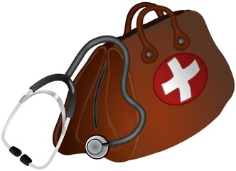 Brown doctors bag with white cross and stethoscope aside