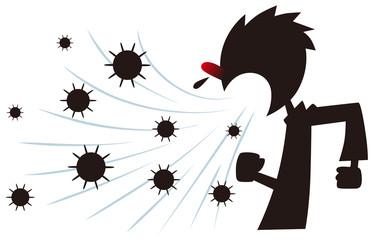 クシャミでウィルスをまき散らす男性