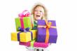 Blonde Frau mit Geschenken