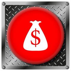 Dollar sack metallic icon