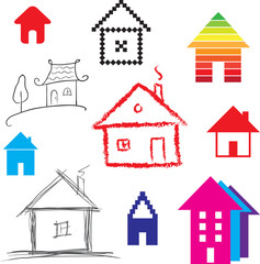 Simple stylized icon of houses
