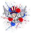 funny uncle sam as  a bird - 4th of July Vector theme Design